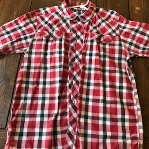 ad0fea9c55 Short Sleeve Plaid Under Armor Button Down Shirt